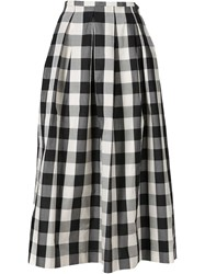 Rochas Long Checked Skirt Black