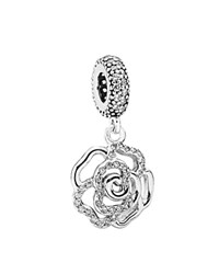 Pandora Design Pandora Dangle Charm Sterling Silver And Cubic Zirconia Shimmering Rose Moments Collection