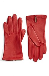 Fownes Brothers Women's Short Leather Gloves Cherry