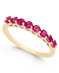 Macy's Ruby 3 4 Ct. T.W. Eight Stone Band In 14K Gold Red