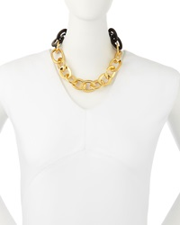 18K Yellow Gold And Black Horn Link Necklace Maiyet