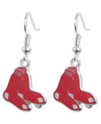 Aminco Boston Red Sox Logo Drop Earrings Team Color