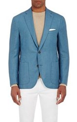 Luciano Barbera Men's Donegal Effect Two Button Sportcoat Blue