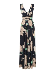 Biba Crane Print Deep V Maxi Dress Multi Coloured