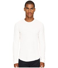 Vince Raw Edge Long Sleeve Crew Neck Heather Optic White Men's T Shirt