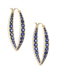 Ila Ceylon Garrison Pave Blue Sapphire And 14K Yellow Gold Hoop Earrings Gold Blue