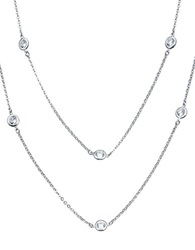 Crislu Cubic Zirconia Double Strand Station Necklace Silver