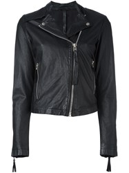 Barbara I Gongini Zip Up Biker Jacket Black