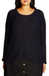 City Chic Plus Size Women's 'S And P' Sweater Ink