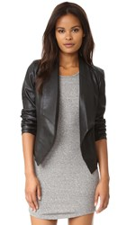 Cupcakes And Cashmere Lari Draped Vegan Leather Jacket Black