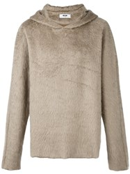 Msgm Hooded Jumper Nude And Neutrals