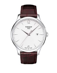 Tissot Mens Traditional Silver Quartz Classic Watch Brown