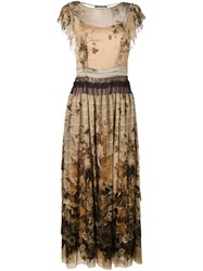 Alberta Ferretti Floral Print Dress Nude And Neutrals