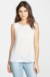 Gibson Sleeveless Embroidered Mesh Front Top White Dot