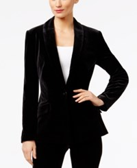 Inc International Concepts Velvet One Button Blazer Only At Macy's Deep Black