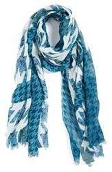 Women's Halogen 'Houndstooth Camouflage' Cotton And Wool Scarf Blue Green Teal Combo