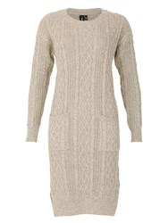 Izabel London Chunky Knit Long Cable Jumper Cream