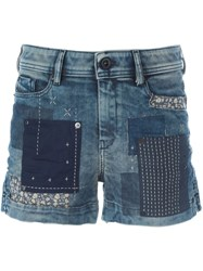 Diesel Patchwork Denim Shorts Blue