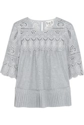 Sea Pleated Broderie Anglaise Cotton Blouse Gray