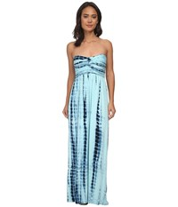 Culture Phit Liliana Maxi Dress Baby Blue Tie Dye Women's Dress Green