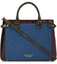 Burberry Banner Medium Leather Tote Peacock Blue
