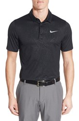 Nike Men's 'Mobility Emboss' Golf Pique Polo Black Flat Silver