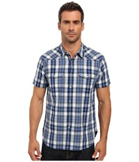 Lucky Brand Short Sleeve Santa Fe Western Shirt Indigo Plaid Men's Clothing Black