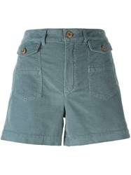 See By Chloe Pocketed Corduroy Effect Shorts Blue