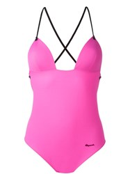 Dsquared2 Beachwear Crisscross Back Swimsuit Pink And Purple