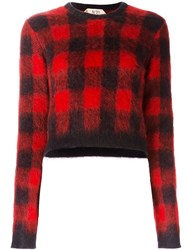 N 21 No21 Checked Cropped Jumper Red