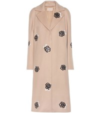 Christopher Kane Embellished Virgin Wool Coat Beige