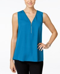 Inc International Concepts Petite Sleeveless Zipper Detail Top Only At Macy's Lapis Lazuli