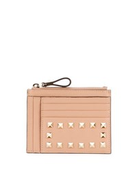 Valentino Rockstud Leather Coin Card Case Beige