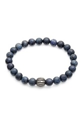Stephen Oliver Oxidized Sterling Silver And Dumorite Bead Stretch Bracelet Blue