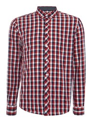 Merc Mens Long Sleeved Large Check Shirt Red Multi