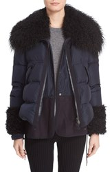 Moncler Women's 'Amelie' Water Resistant Down Coat With Genuine Mongolian And Genuine Kalgan Lamb Fur Trim Navy
