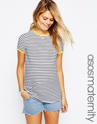 Asos Maternity Stripe T Shirt With Yellow Tipping Detail Multi