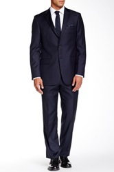 Hickey Freeman Navy Pinstripe Two Button Notch Lapel Wool Suit Blue