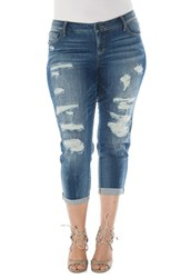 Slink Jeans Plus Size Women's Distressed Roll Cuff Stretch Boyfriend