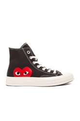 Comme Des Garcons Play Large Emblem High Top Canvas Sneakers In Black