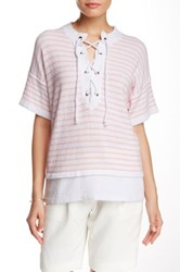Cullen Lace Up Neck Short Sleeve Top Pink