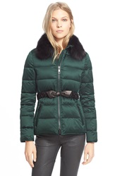 Burberry Brit Belted Down Jacket With Genuine Fox Fur Collar Deep Green