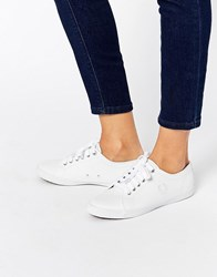 Fred Perry Kingston White Leather Plimsoll Trainers White