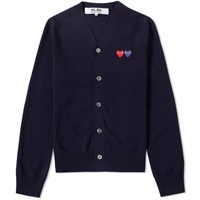 Comme Des Garcons Play Double Heart Cardigan Blue