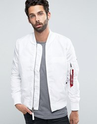 Alpha Industries Ma 1 Bomber Jacket Slim Fit In White Wh1 White 1