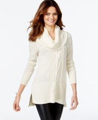 Inc International Concepts Cowl Neck Cable Knit Tunic Sweater Only At Macy's