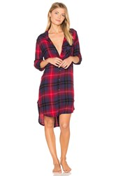 Bella Dahl Mercer Plaid Sleep Shirt Red