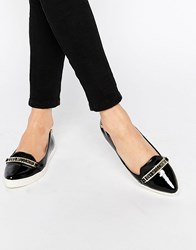 Love Moschino Black Pointed Toe Flat Shoes Black