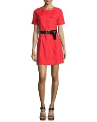 Michael Michael Kors Contrast Stitch Belted Trench Dress Coral Reef