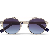 Moscot Leather Trimmed Round Frame Sunglasses Blue
